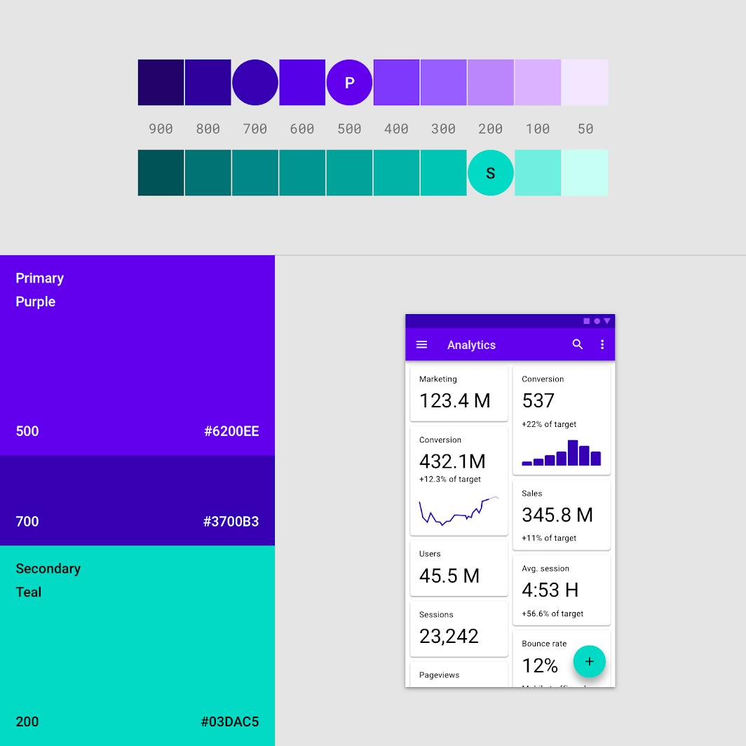 رنگ در طراحی اپلیکیشن اندروید